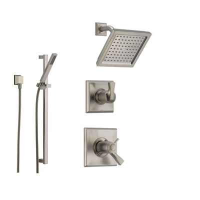 Delta Dryden Stainless Steel Shower System with Thermostatic Shower Handle, 3-setting Diverter, Modern Square Showerhead, and Handheld Shower SS17T5185SS