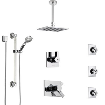 Delta Vero Chrome Shower System with Dual Thermostatic Control, Diverter, Ceiling Mount Showerhead, 3 Body Sprays, and Grab Bar Hand Shower SS17T5322