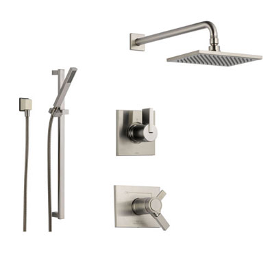 Delta Vero Stainless Steel Shower System with Thermostatic Shower Handle, 3-setting Diverter, Large Square Rain Showerhead, and Modern Handheld Shower SS17T5384SS