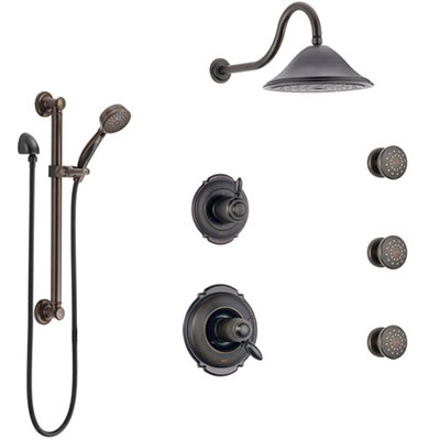 Delta Victorian Venetian Bronze Shower System with Dual Thermostatic Control, Diverter, Showerhead, 3 Body Sprays, and Grab Bar Hand Spray SS17T552RB2