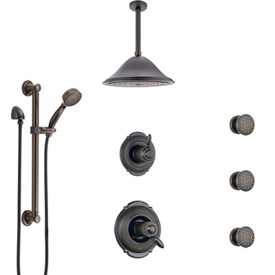 Delta Victorian Venetian Bronze Dual Thermostatic Control Shower System, Diverter, Ceiling Showerhead, 3 Body Sprays, Grab Bar Hand Spray SS17T552RB3