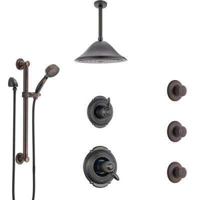 Delta Victorian Venetian Bronze Dual Thermostatic Control Shower System, Diverter, Ceiling Showerhead, 3 Body Sprays, Grab Bar Hand Spray SS17T552RB4