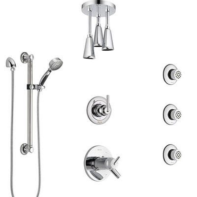 Delta Trinsic Chrome Shower System with Dual Thermostatic Control, Diverter, Ceiling Showerhead, 3 Body Sprays, and Grab Bar Hand Shower SS17T5913