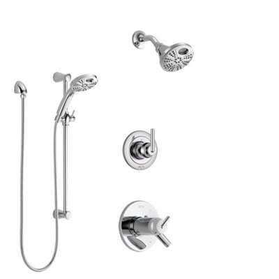 Delta Trinsic Chrome Finish Shower System with Dual Thermostatic Control Handle, Diverter, Temp2O Showerhead, and Hand Shower with Slidebar SS17T5928