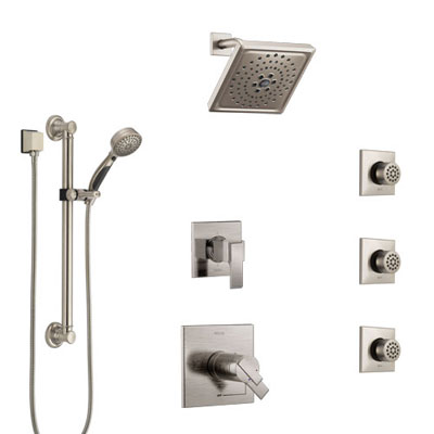 Delta Ara Dual Thermostatic Control Stainless Steel Finish Shower System, Diverter, Showerhead, 3 Body Sprays, and Grab Bar Hand Shower SS17T671SS1