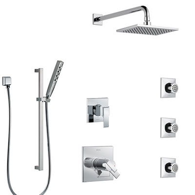 Delta Ara Chrome Finish Shower System with Dual Thermostatic Control Handle, 6-Setting Diverter, Showerhead, 3 Body Sprays, and Hand Shower SS17T6726