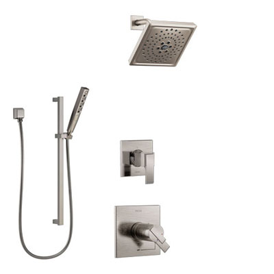 Delta Ara Dual Thermostatic Control Handle Stainless Steel Finish Shower System, Diverter, Showerhead, and Hand Shower with Slidebar SS17T672SS8