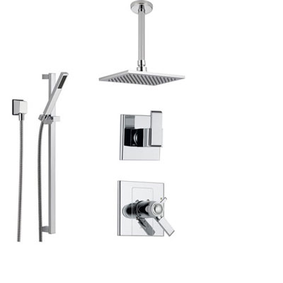 Delta Arzo Chrome Shower System with Thermostatic Shower Handle, 3-setting Diverter, Large Square Modern Ceiling Mount Showerhead, and Handheld Shower SS17T8681