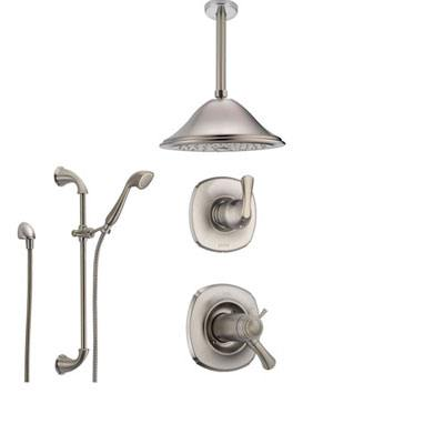 Delta Addison Stainless Steel Shower System with Thermostatic Shower Handle, 3-setting Diverter, Large Ceiling Mount Showerhead, and Handheld Shower SS17T9281SS