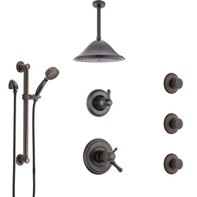 Delta Cassidy Venetian Bronze Dual Thermostatic Control Shower System, Diverter, Ceiling Showerhead, 3 Body Sprays, Grab Bar Hand Spray SS17T971RB6
