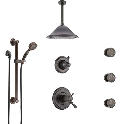 Delta Cassidy Venetian Bronze Dual Thermostatic Control Shower System, Diverter, Ceiling Showerhead, 3 Body Sprays, Grab Bar Hand Spray SS17T971RB7