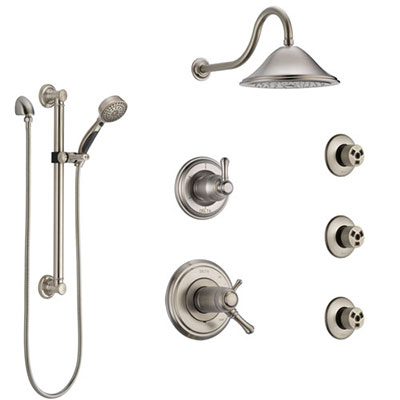 Delta Cassidy Dual Thermostatic Control Stainless Steel Finish Shower System, Diverter, Showerhead, 3 Body Sprays, and Grab Bar Hand Spray SS17T971SS2