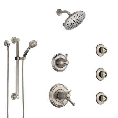 Delta Cassidy Dual Thermostatic Control Stainless Steel Finish Shower System, Diverter, Showerhead, 3 Body Sprays, and Grab Bar Hand Spray SS17T971SS7