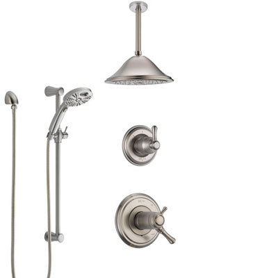 Delta Cassidy Dual Thermostatic Control Stainless Steel Finish Shower System, Diverter, Ceiling Mount Showerhead, and Temp2O Hand Shower SS17T972SS2