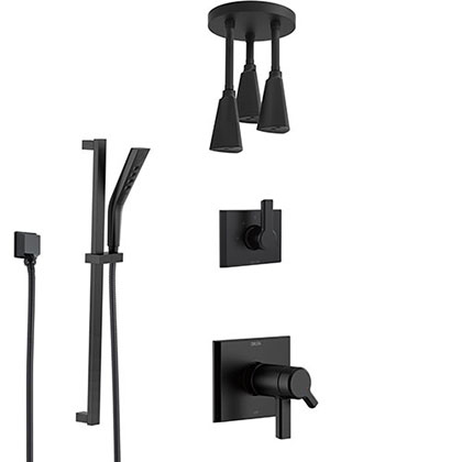 Delta Pivotal Matte Black Thermostatic Shower System with Triple Pendant Ceiling Mount Showerhead Fixture and Hand Shower with Slidebar SS17T993BL11