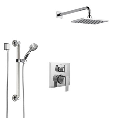 Delta Ara Chrome Finish Shower System with Control Handle, Integrated 3-Setting Diverter, Showerhead, and Hand Shower with Grab Bar SS2486710