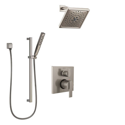 Delta Ara Stainless Steel Finish Shower System with Control Handle, Integrated Diverter, Showerhead, and Hand Shower with Slidebar SS24867SS5