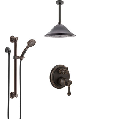 Delta Cassidy Venetian Bronze Shower System with Control Handle, Integrated Diverter, Ceiling Mount Showerhead, and Grab Bar Hand Shower SS24897RB8