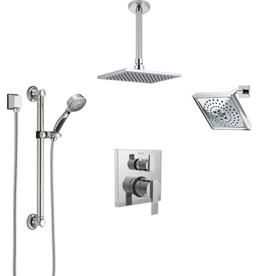 Delta Ara Chrome Shower System with Control Handle, Integrated Diverter, Showerhead, Ceiling Mount Showerhead, and Hand Shower with Grab Bar SS2496711