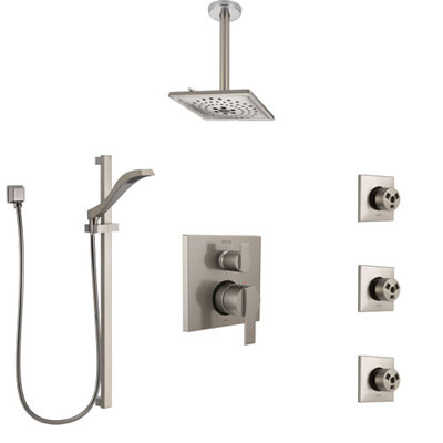 Delta Ara Stainless Steel Finish Integrated Diverter Shower System Control Handle, Ceiling Showerhead, 3 Body Sprays, and Hand Shower SS24967SS12