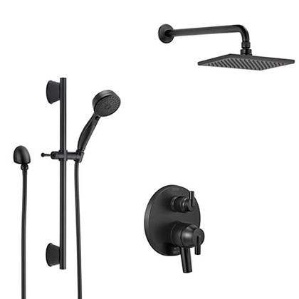 Delta Trinsic Matte Black Finish Shower System with Built-in Diverter, Modern Wall Mount Rain Showerhead, and Hand Shower with Slide Bar SS27859BL4