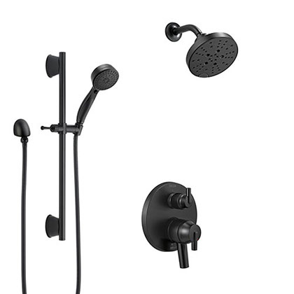 Delta Trinsic Matte Black Finish Built-in Diverter Shower System with Multi-Setting Wall Mount Showerhead and Hand Shower with Slide Bar SS27859BL6