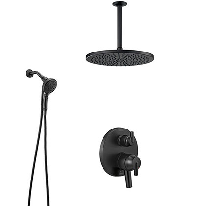 Delta Trinsic Matte Black Integrated Diverter Shower System with Detachable SureDock Hand Shower and Large Round Ceiling Mount Showerhead SS27859BL8