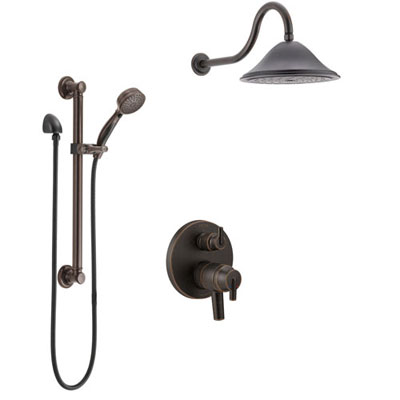 Delta Trinsic Venetian Bronze Shower System with Dual Control Handle, Integrated Diverter, Showerhead, and Hand Shower with Grab Bar SS27859RB10