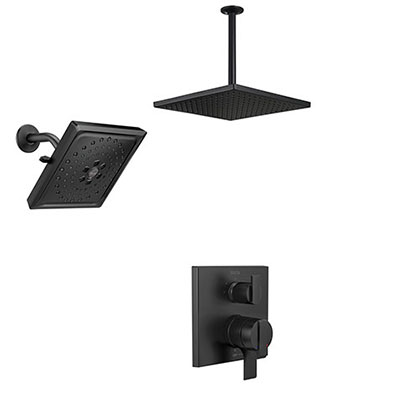 Delta Ara Matte Black Finish Multi Shower System with Integrated Diverter Control with Large Ceiling Mount Rain and Wall Mount Showerhead SS27867BL7