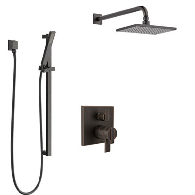 Delta Ara Venetian Bronze Shower System with Dual Control Handle, Integrated 3-Setting Diverter, Showerhead, and Hand Shower with Slidebar SS27867RB7