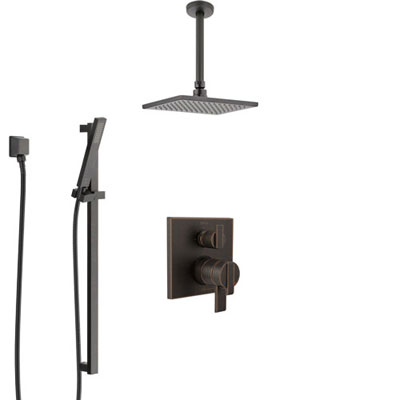 Delta Ara Venetian Bronze Shower System with Dual Control Handle, Integrated Diverter, Ceiling Mount Showerhead, and Hand Shower SS27867RB8