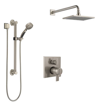 Delta Ara Stainless Steel Finish Shower System with Dual Control Handle, Integrated Diverter, Showerhead, and Hand Shower with Grab Bar SS27867SS1