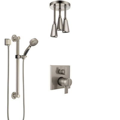 Delta Ara Dual Control Handle Stainless Steel Finish Integrated Diverter Shower System, Ceiling Mount Showerhead, and Grab Bar Hand Shower SS27867SS3