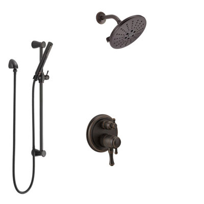 Delta Cassidy Venetian Bronze Shower System with Dual Control Handle, Integrated Diverter, Showerhead, and Hand Shower with Slidebar SS27897RB10