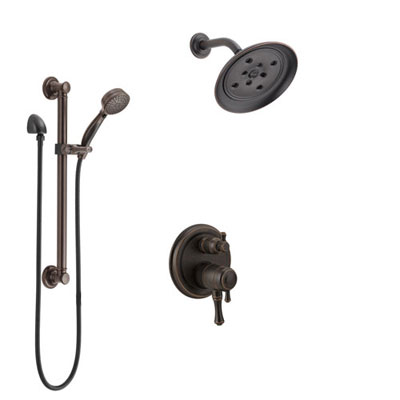 Delta Cassidy Venetian Bronze Shower System with Dual Control Handle, Integrated Diverter, Showerhead, and Hand Shower with Grab Bar SS27897RB2