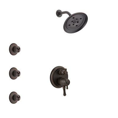 Delta Cassidy Venetian Bronze Finish Shower System with Dual Control Handle, Integrated 3-Setting Diverter, Showerhead, and 3 Body Sprays SS27897RB3