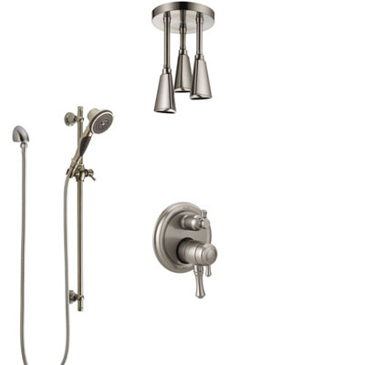 Delta Cassidy Dual Control Handle Stainless Steel Finish Shower System, Integrated Diverter, Ceiling Mount Showerhead, and Hand Shower SS27897SS11