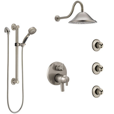 Delta Trinsic Dual Control Handle Stainless Steel Finish Integrated Diverter Shower System, Showerhead, 3 Body Sprays, Grab Bar Hand Spray SS27959SS11