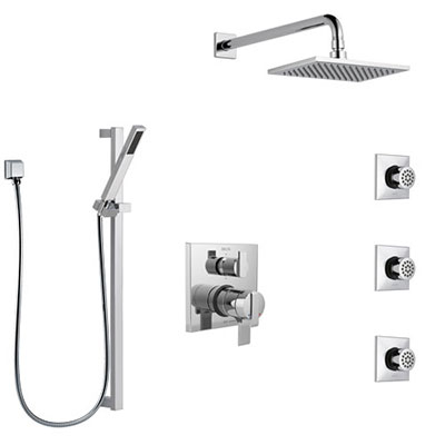 Delta Ara Chrome Finish Shower System with Dual Control Handle, Integrated 6-Setting Diverter, Showerhead, 3 Body Sprays, and Hand Shower SS279671