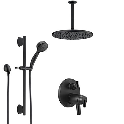 Delta Trinsic Matte Black Thermostatic Integrated Diverter Shower System with Large Round Ceiling Showerhead and Hand Shower with Slidebar SS27T859BL2