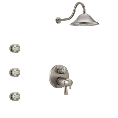 Delta Trinsic Dual Thermostatic Control Handle Stainless Steel Finish Shower System, Integrated Diverter, Showerhead, and 3 Body Sprays SS27T859SS2