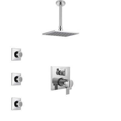 Delta Ara Chrome Shower System with Dual Thermostatic Control Handle, Integrated Diverter, Ceiling Mount Showerhead, and 3 Body Sprays SS27T8678
