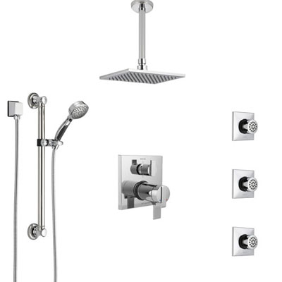 Delta Ara Chrome Dual Thermostatic Control Integrated Diverter Shower System, Ceiling Showerhead, 3 Body Sprays, and Grab Bar Hand Shower SS27T96710