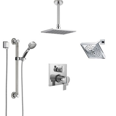 Delta Ara Chrome Dual Thermostatic Control Integrated Diverter Shower System, Showerhead, Ceiling Showerhead, and Grab Bar Hand Shower SS27T96711