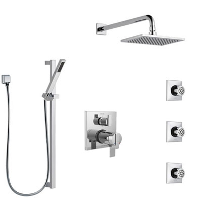 Delta Ara Chrome Shower System with Dual Thermostatic Control, Integrated 6-Setting Diverter, Showerhead, 3 Body Sprays, and Hand Shower SS27T9671