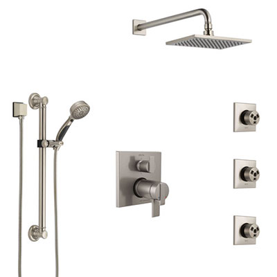 Delta Ara Dual Thermostatic Control Stainless Steel Finish Shower System, Showerhead, 3 Body Jets, Grab Bar Hand Spray SS27T967SS10