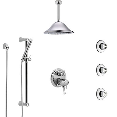 Delta Cassidy Chrome Shower System with Dual Thermostatic Control, Integrated Diverter, Ceiling Showerhead, 3 Body Sprays, and Hand Shower SS27T9973