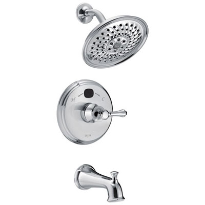 Delta Chrome Cassidy Traditional 14 Series Digital Display Temp2O Single Handle Tub and Shower Combination Faucet Includes Trim Kit and Valve with Stops D2017V