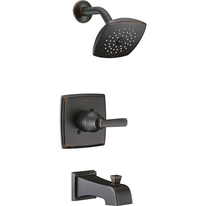 Delta Ashlyn Modern Venetian Bronze Finish 14 Series Watersense Single Handle Tub and Shower Combination Faucet INCLUDES Rough-in Valve with Stops D1173V