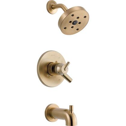 Delta Trinsic Champagne Bronze Dual Control Modern Tub and Shower w/Valve D461V